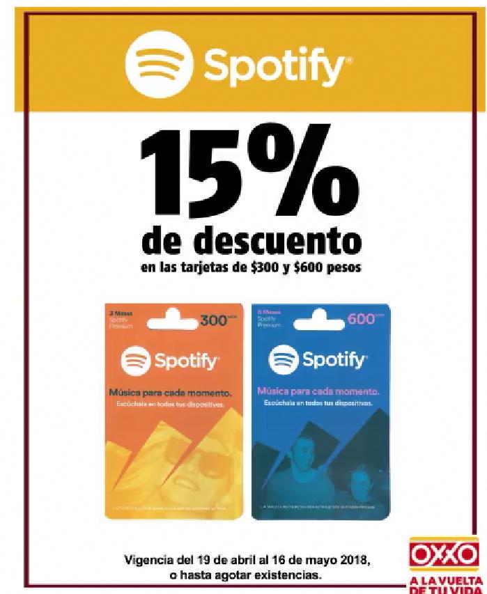 Oxxo 15% de descuento en tarjetas Spotify