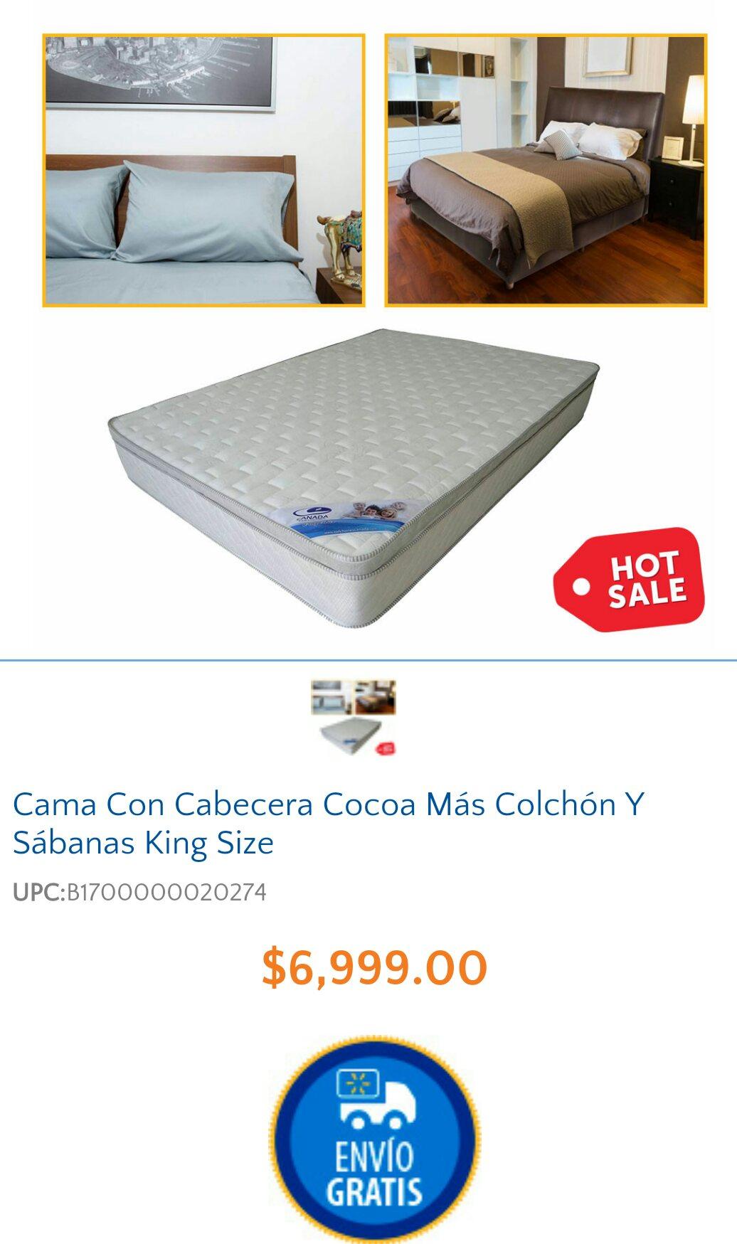 Hot Sale 2015 en Walmart: Paquete Base + cabecera + Colchon Therapy Foam + Sabanas de algodon en KING SIZE: $6,999