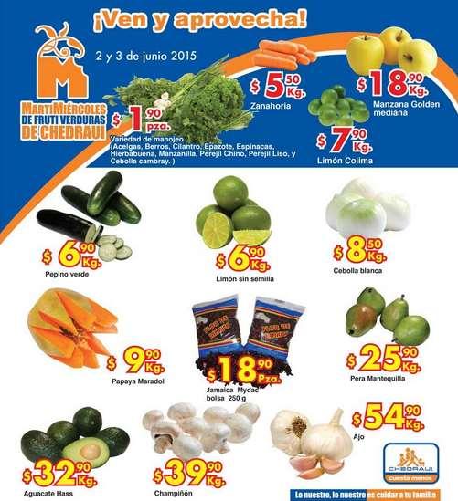 Ofertas de frutas y verduras en Chedraui 2 y 3 de junio