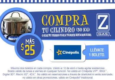 Boletos para Cinépolis a $25 comprando Z Gas