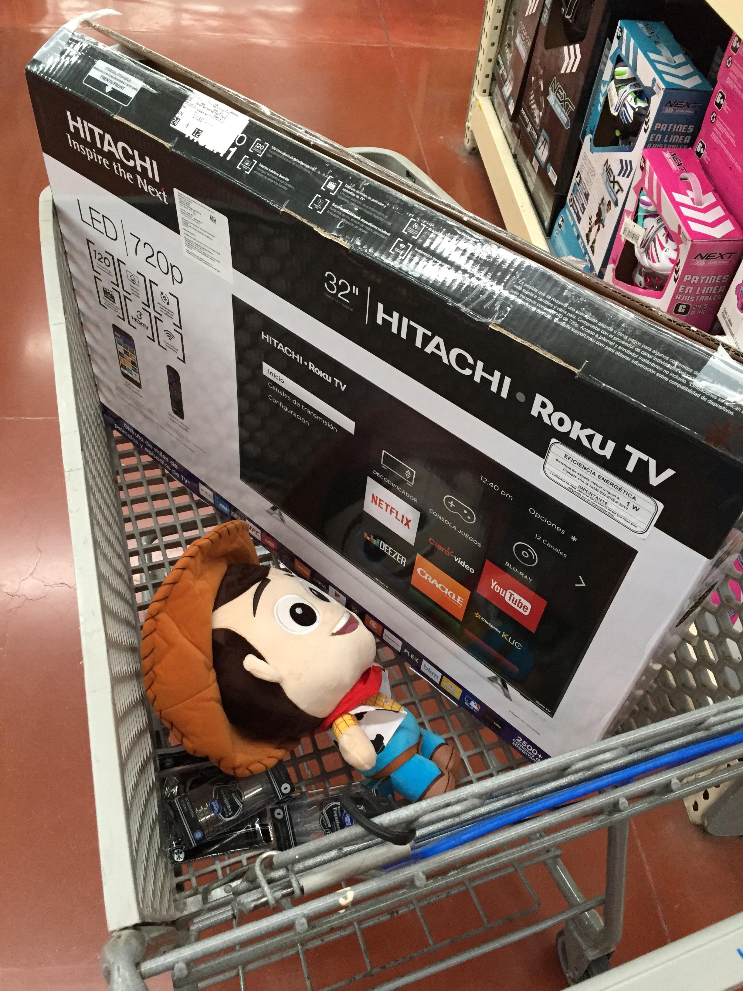 "Walmart: pantalla hitachi con roku 32"" $599.01"