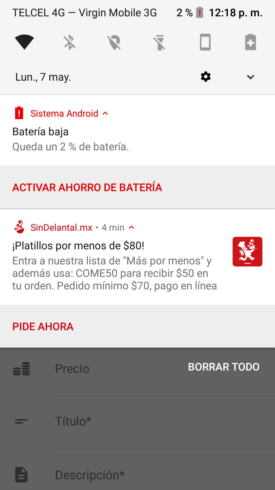 SinDelantal: $50 pesos de descuento $70 mínimo