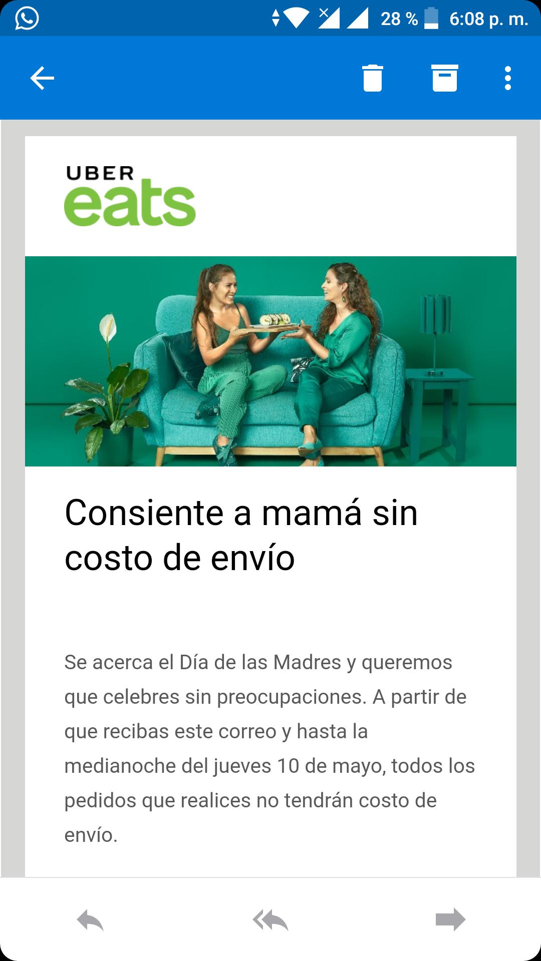 Uber Eats: Envíos gratis por el día de la madre