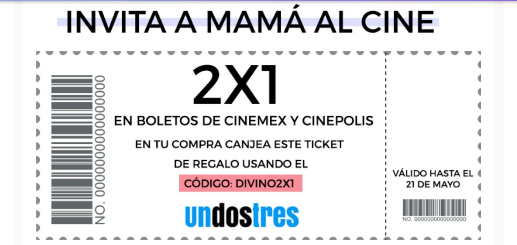 Undostres: Haz una recarga a tu celular y gana un 2×1 en boletos para ir al cine. Aplica únicamente para Cinepolis y Cinemex.