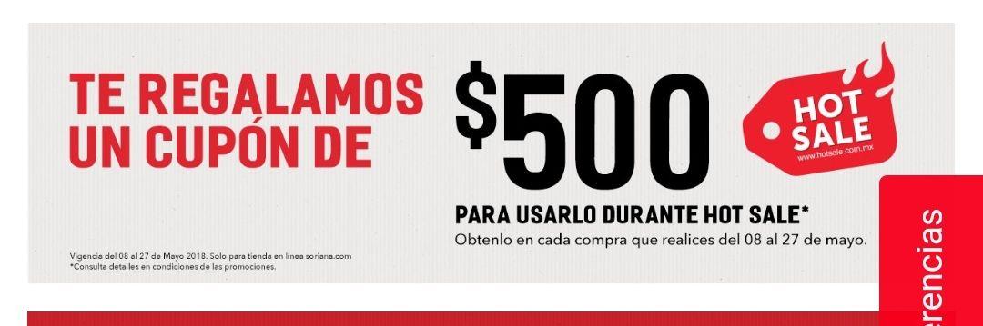 Soriana: Cupón de $500 para el hotsale comprando del 8 al 27 de mayo, para redimir el cupón hay que comprar $2,500