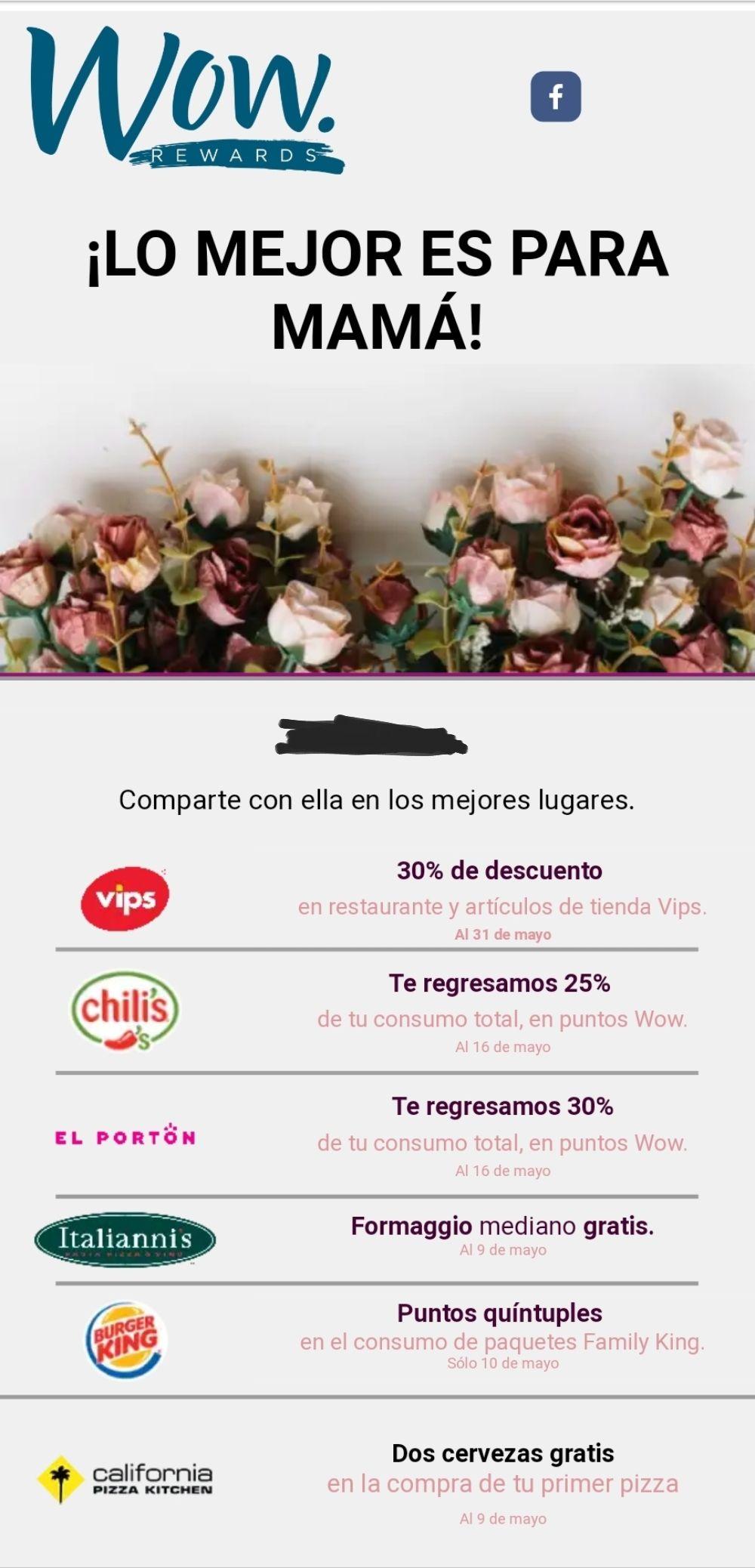 Wow Rewards: Descuentos y promociones para Mamá en Vips, Chilli's, El portón, Italianni's, Burguer king, CPK