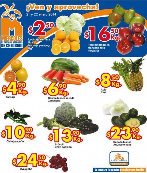 Ofertas de frutas y verduras en Chedraui 21 y 22 de enero: naranja $2.50 y más
