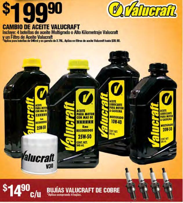 Autozone, paquete para cambio de aceite $199.90 y 4 bujias $59.60