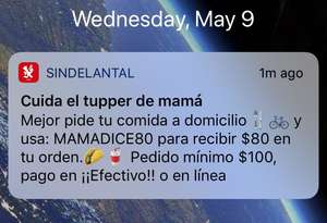 Sin Delantal: descuento de $80 pedido mínimo $100