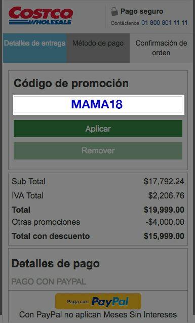 Costco: Descuento de$1,000pesos en compra mínima de $4,000