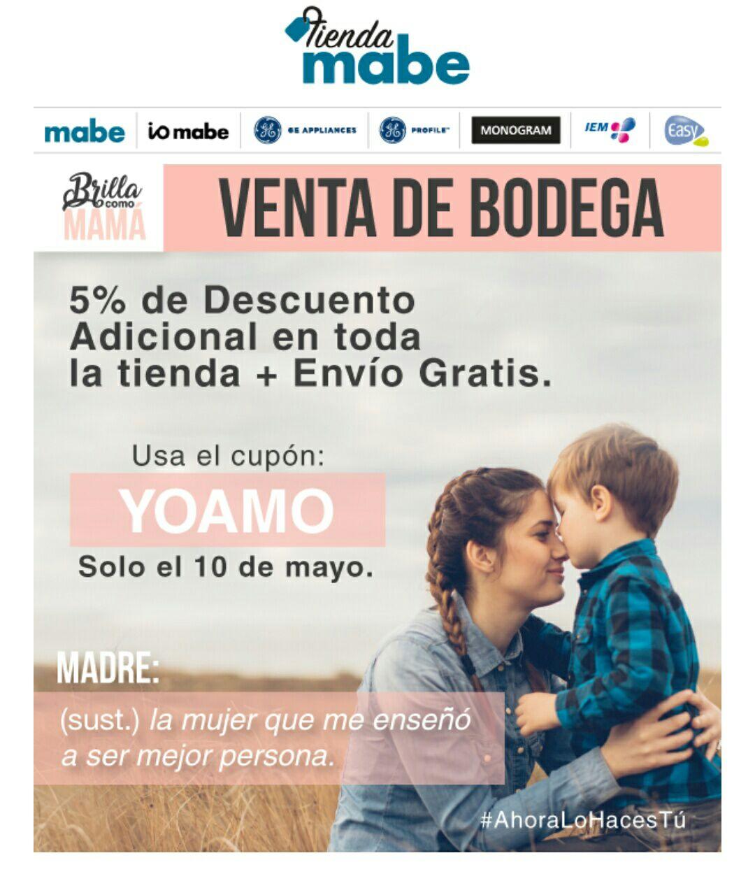 Tienda Mabe: 5% adicional + envío gratis