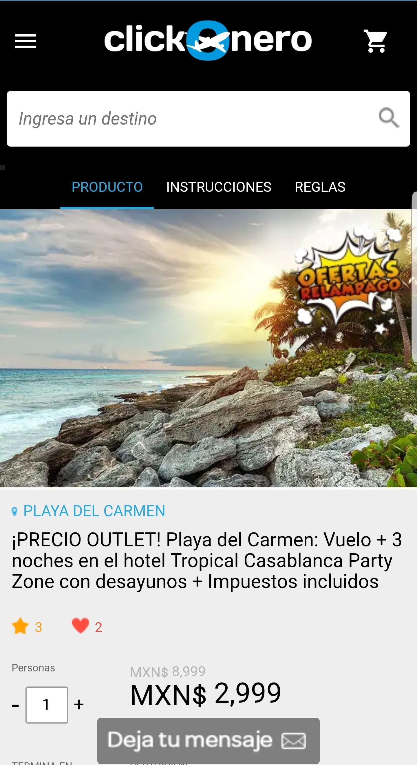 Clickonero: Playa del Carmen: Vuelo + 3 noches en el hotel Tropical Casablanca Party Zone con desayunos + Impuestos incluidos, única salida 29 agosto