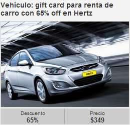 $349 por gift card de $1,000 para renta de auto en Hertz y $599 por taquiza para 20