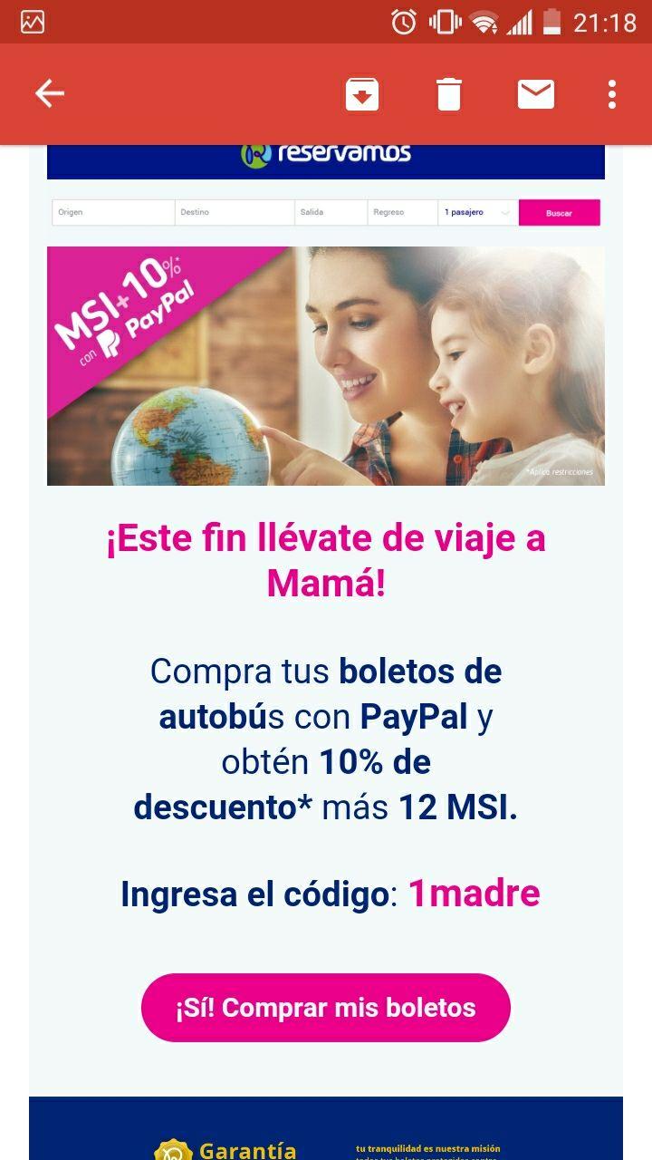 Reservamos.mx: Cupón 10% Todo el Sitio con Paypal (Ej: GDL-CDMX $770 Redondo, Autobus) 100