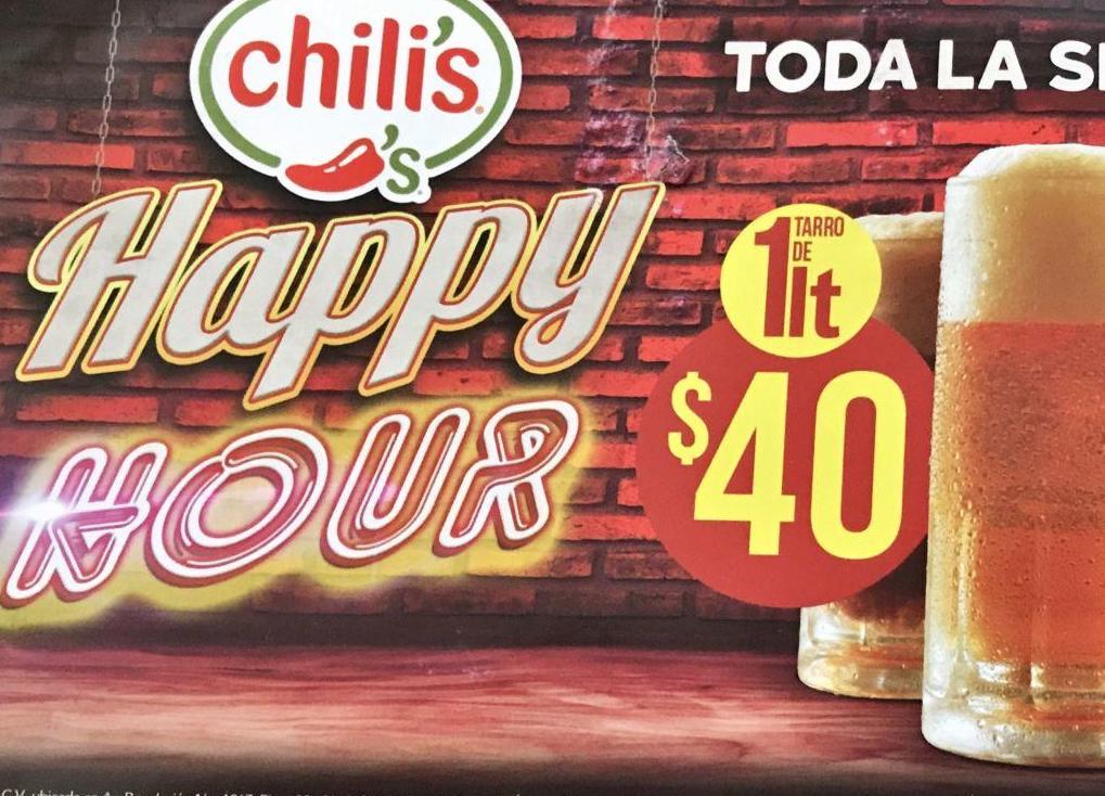 Chili's Puebla Av Juárez: Happy Hour (todo el día) $40 1 lt cerveza, Big Mouth Burgers $100
