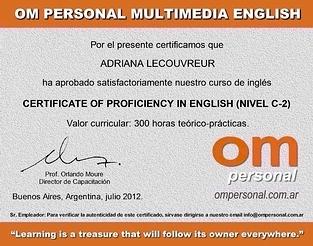 Certificado de Inglés Avanzado (sin validez)