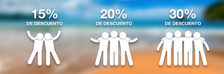 Aeromexico: 15% dos personas, 20% tres personas, 30% cuatro personas.