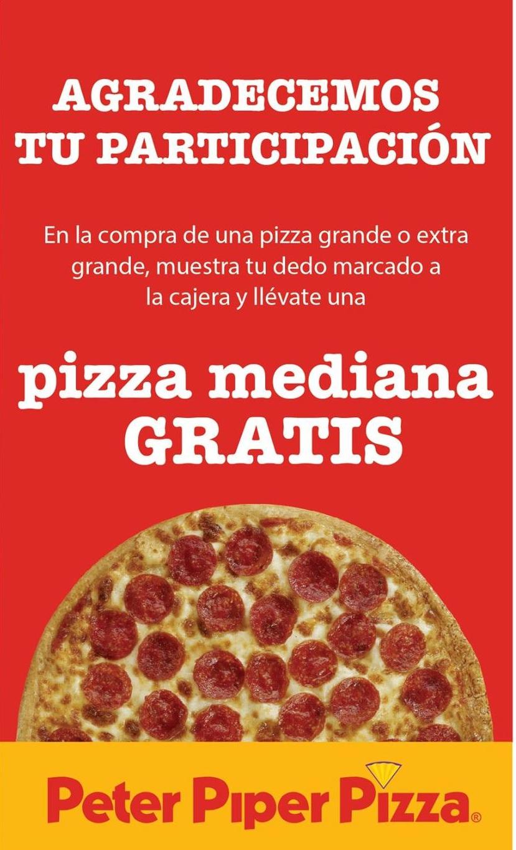 Peter Piper Pizza: Pizza mediana GRATIS en la compra de una grande por votar este 7 de junio