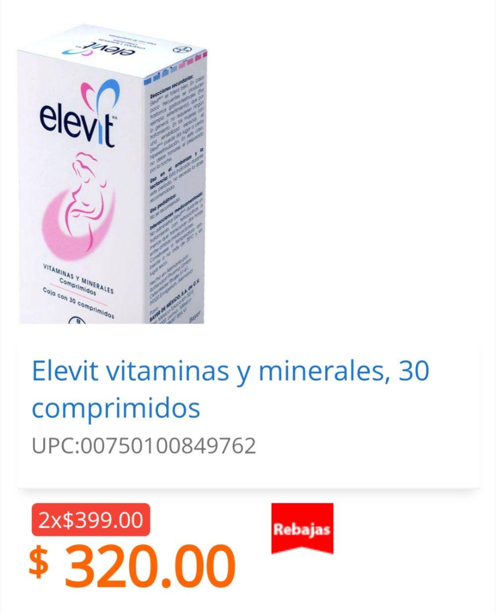 Walmart: Elevit Vitaminas 2 x $399