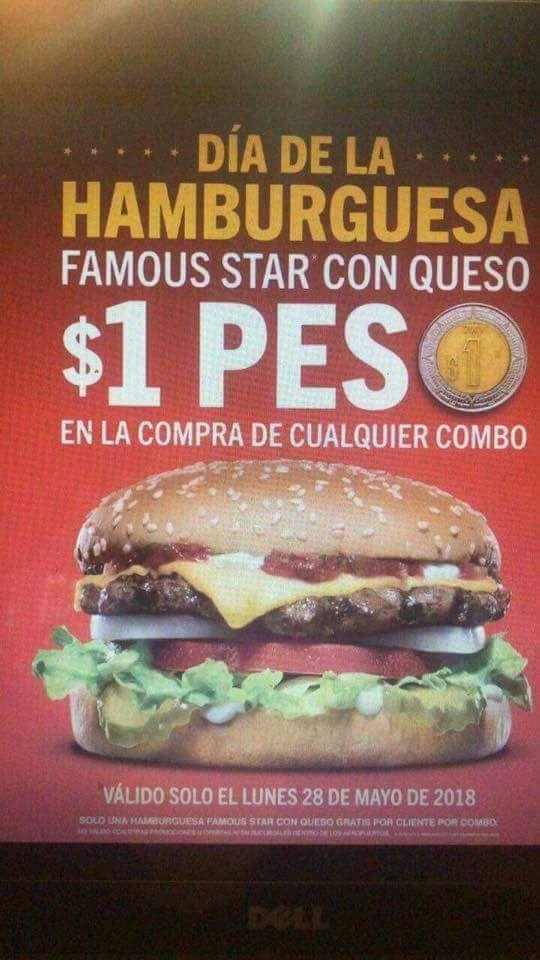 Carl's Jr: Hamburguesa a $1 en la compra de un combo el 28 de mayo
