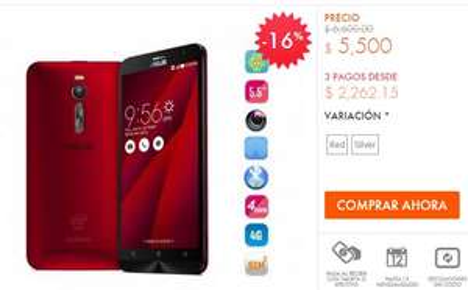 Linio: Celular Asus Zenfone 2 con 4GB de RAM $5,500