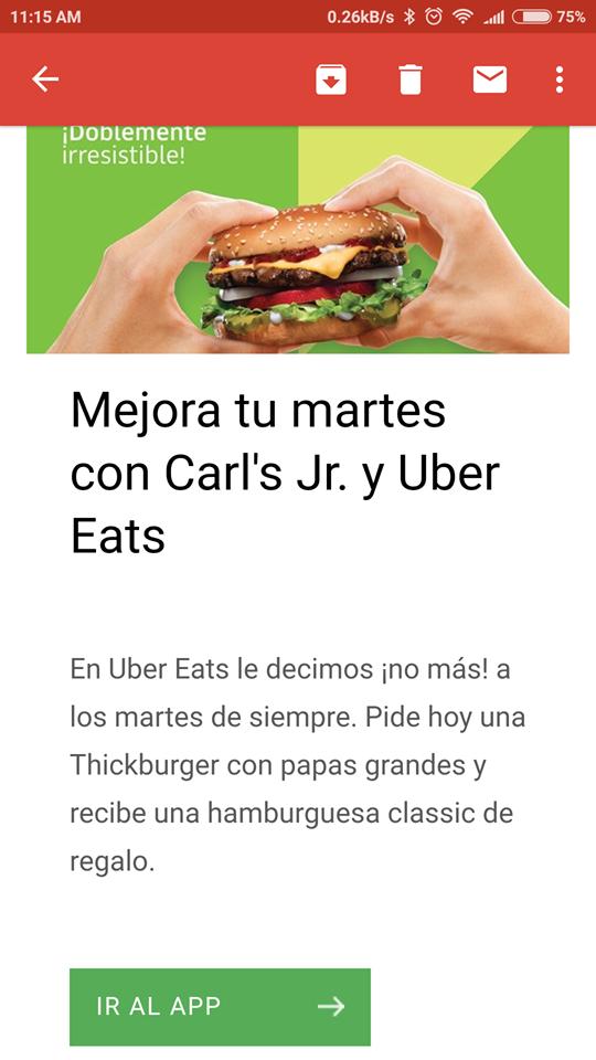 Uber Eats: promo Carls Jr Hamburguesa classic de regalo en la compra de una Thickburguer (Nuevos Usuarios)