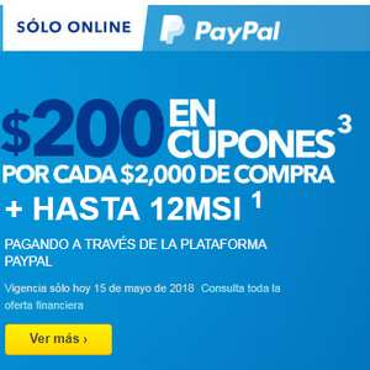 Best Buy: $200 en cupones por cada $2,000 + 12 MSI con Paypal