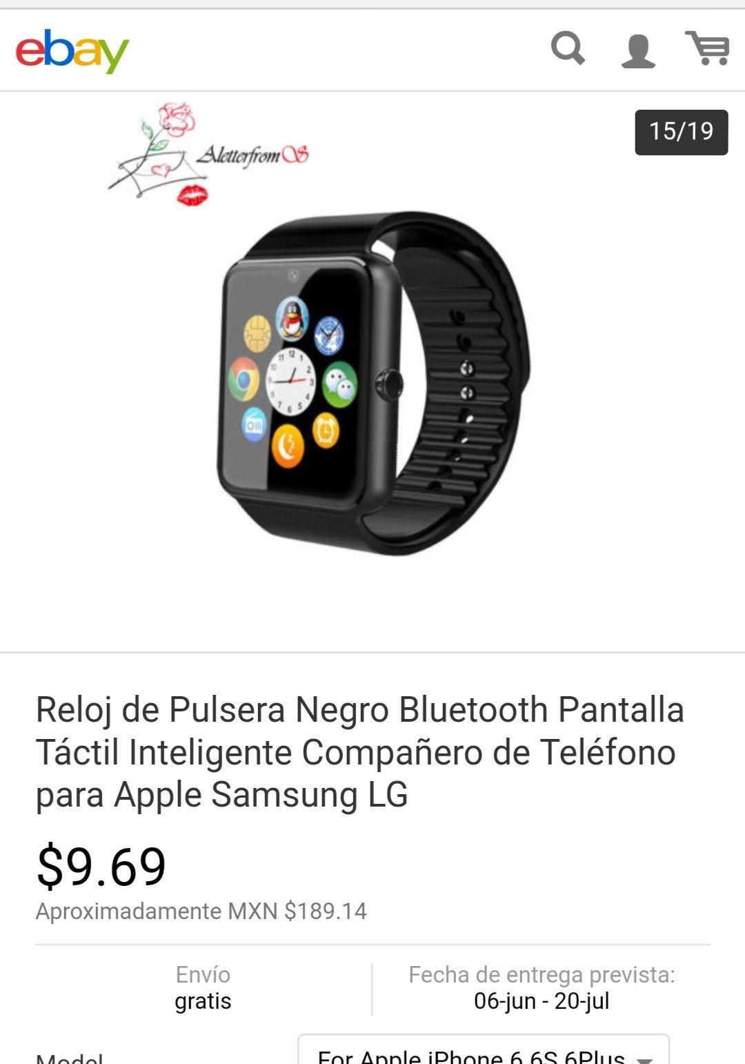 ebay: Smartwatch por 100 pesos o menos (aplica cupón -$5 de eBay)