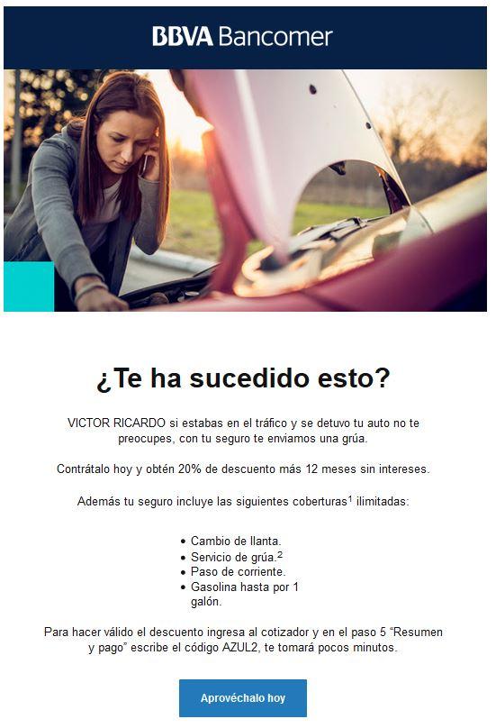 Bancomer: 20% de descuento en pago de seguro de automóvil con código AZUL2