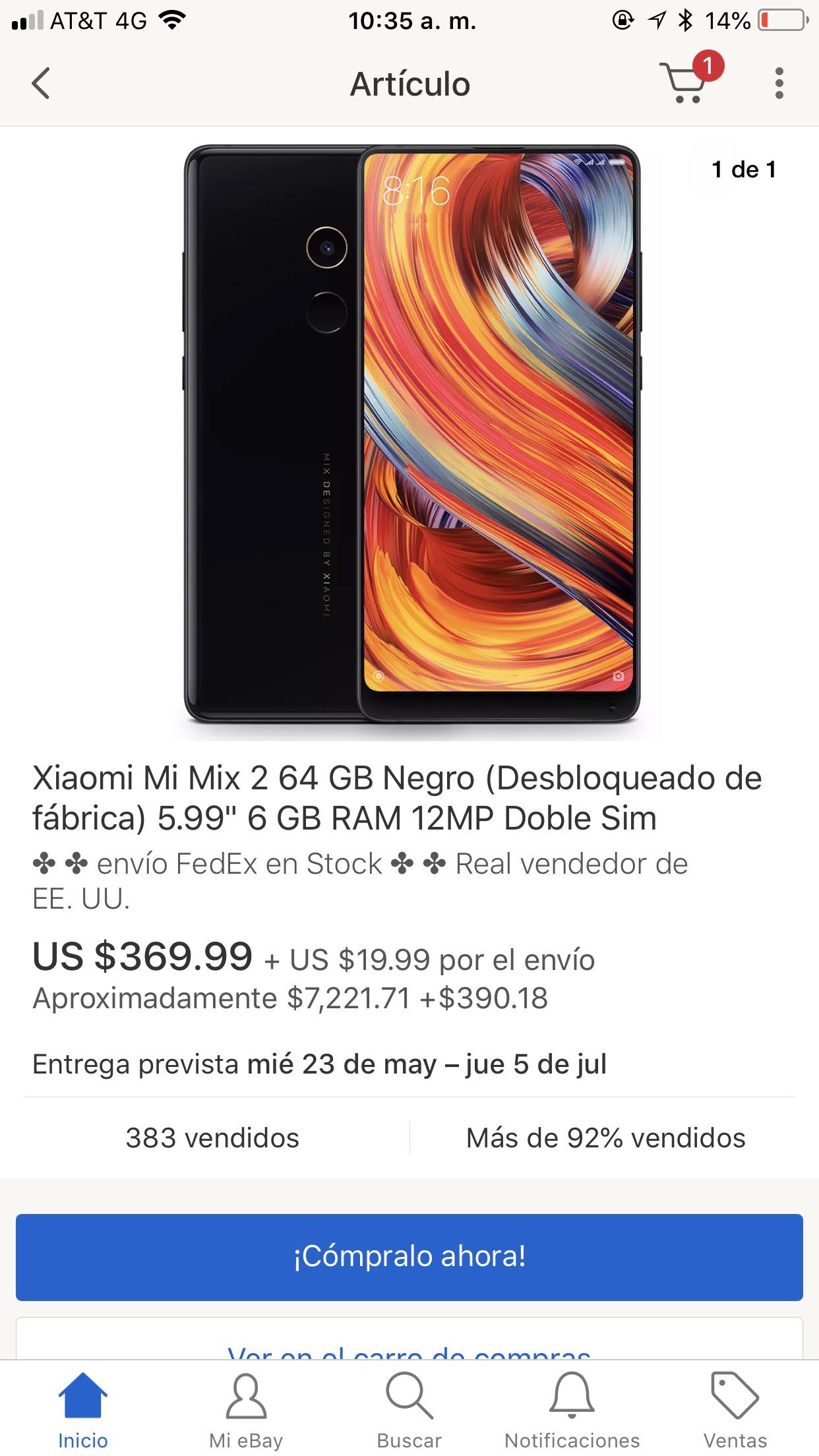 ebay: Xiaomi mi mix 2 64 gb