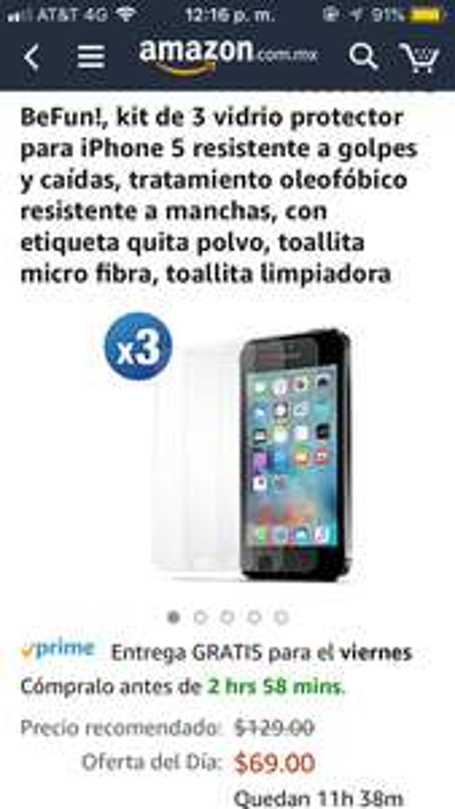 Amazon: 3 vidrios protectores para iPhone 5s