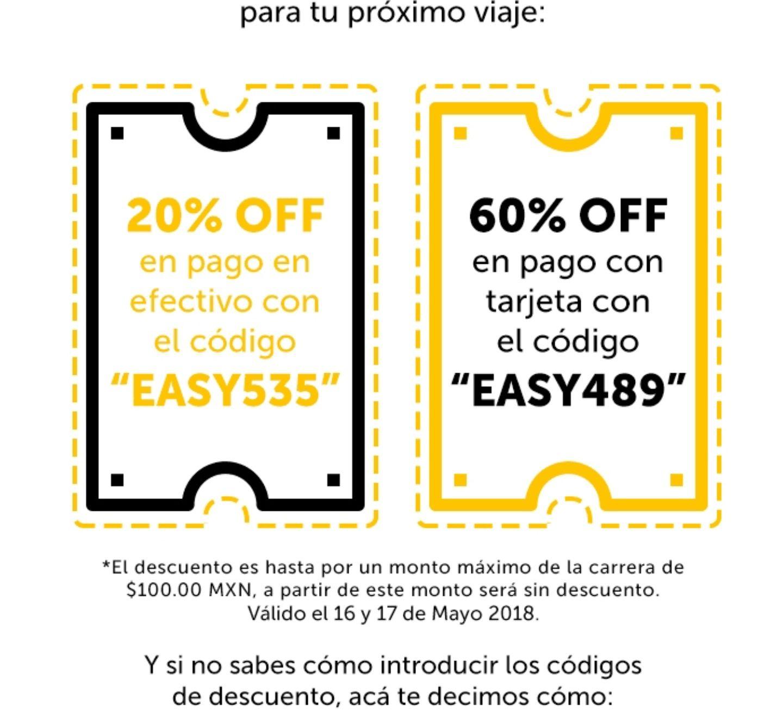 EasyTaxi: 60% de descuento con tarjeta, 20% en efectivo