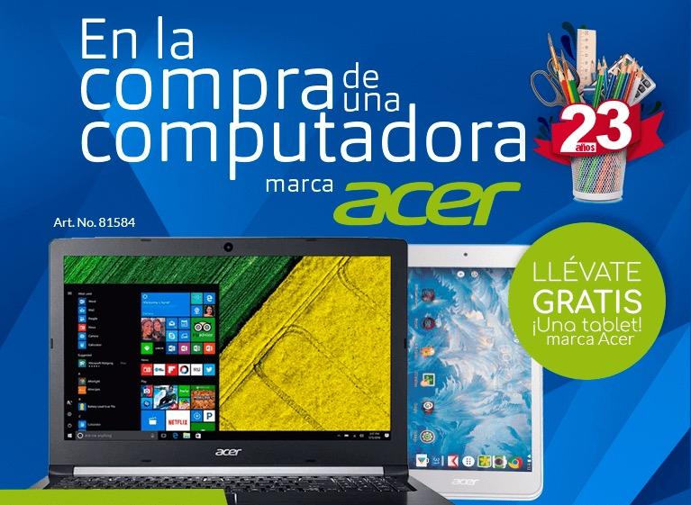 Office depot: Tablet gratis en la compra de una computadora marca Acer