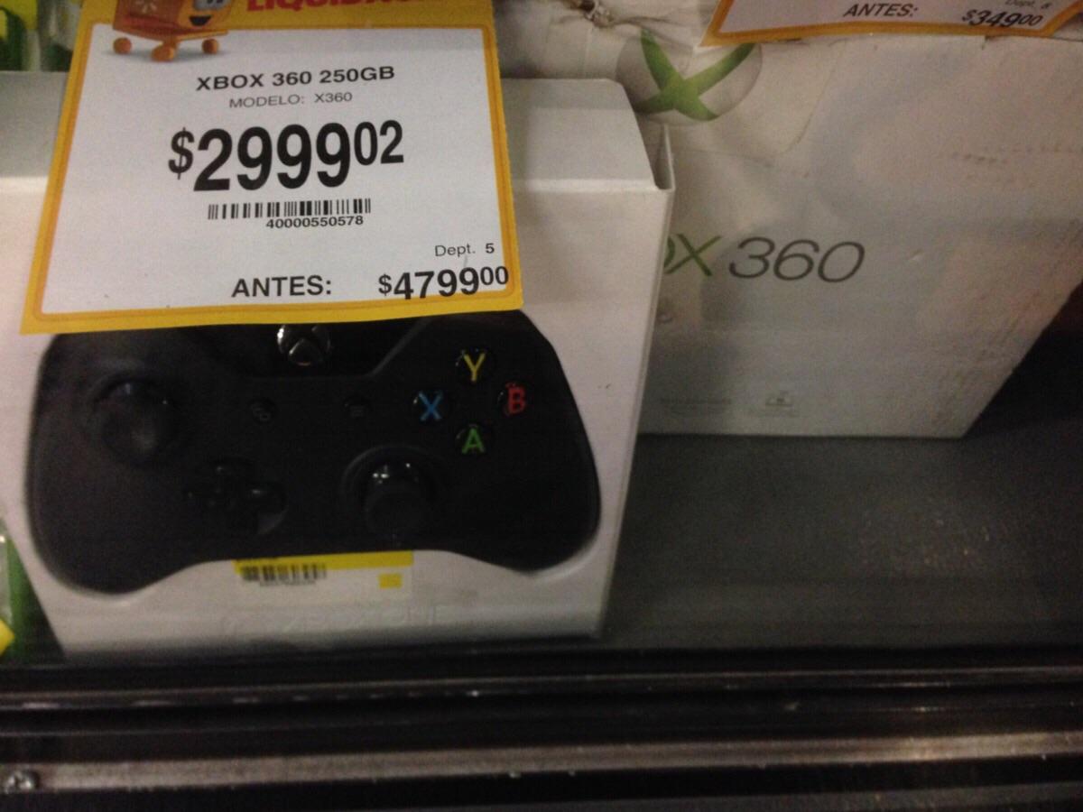 Walmart: Xbox 360 liquidación 4gb en $1999.02 y 250 gb en $2999.02