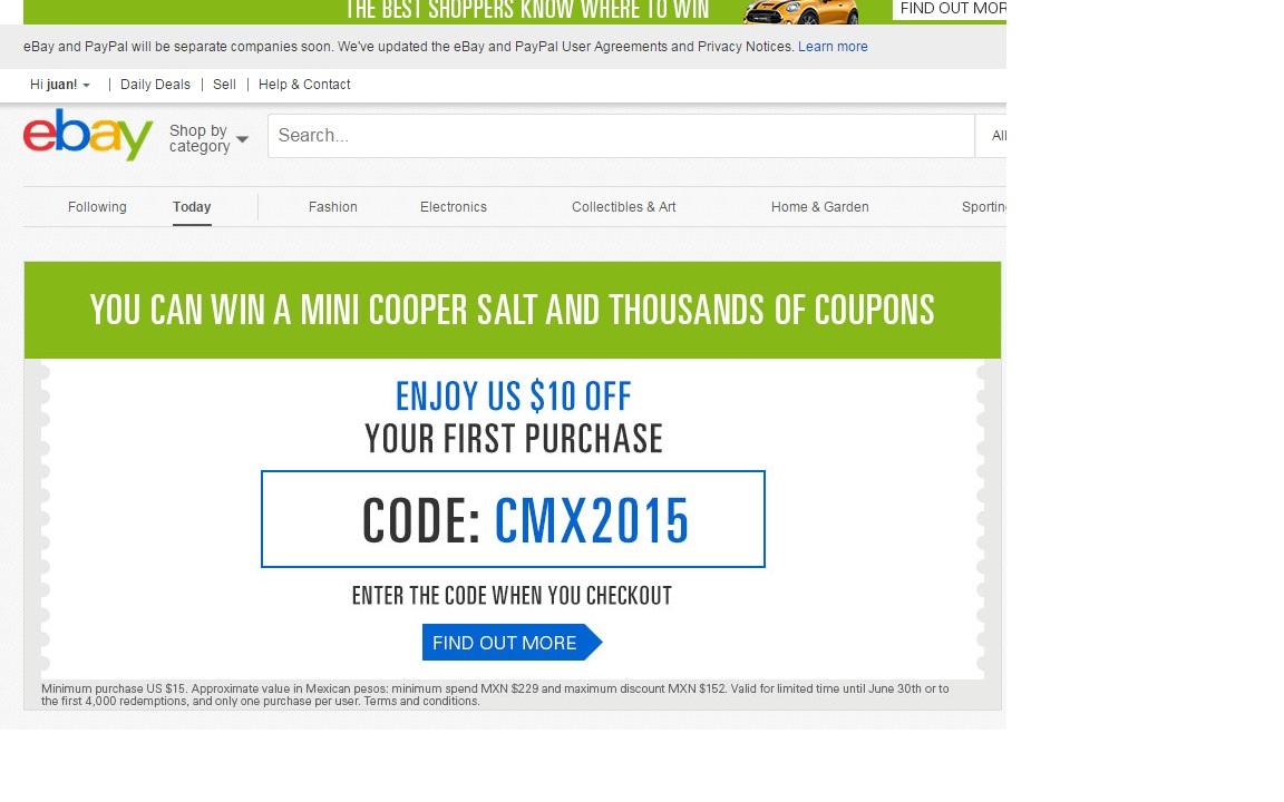 ebay: cupón $10 dólares de descuento en el envío en compras de $15