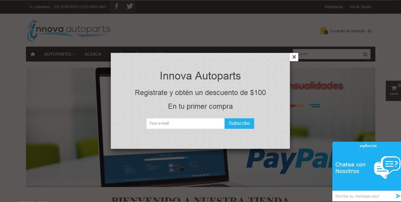 Innova Autoparts: cupón de $100 al registrarte