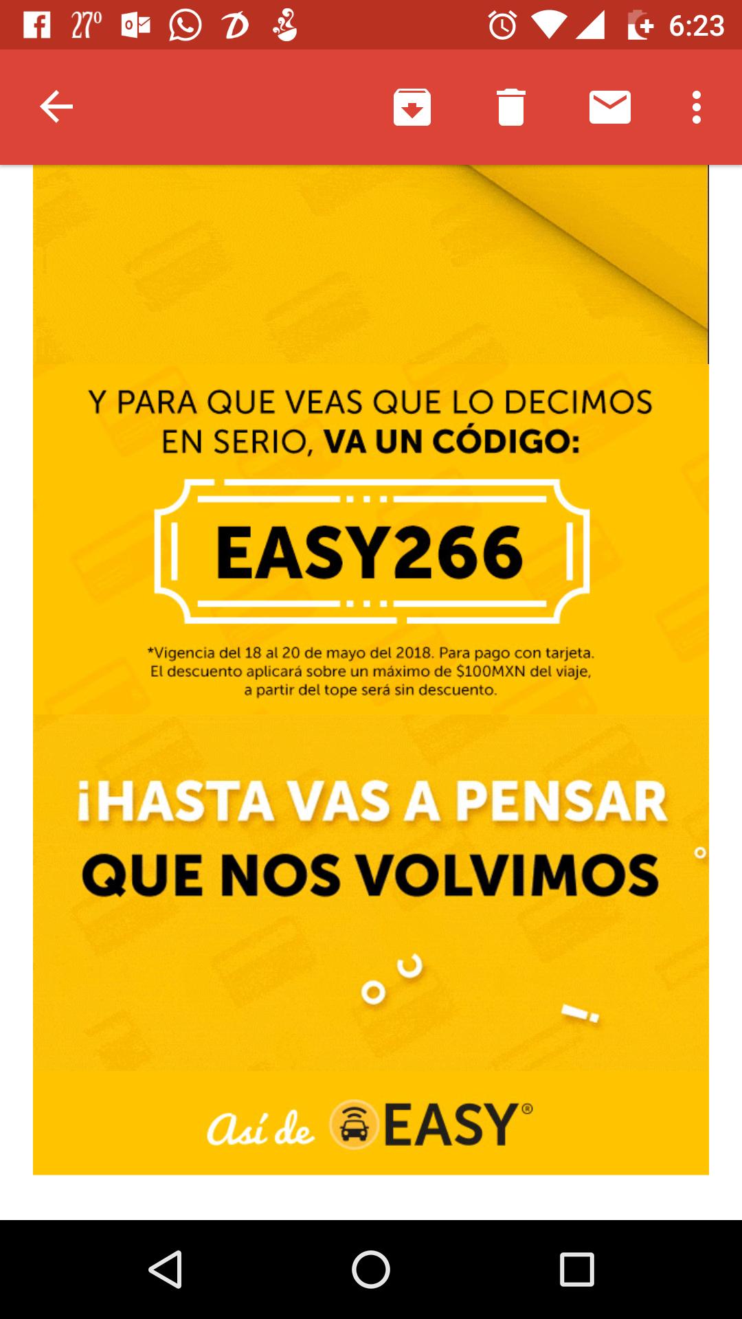 Easy Taxy: cupón de descuento -80% (máximo de $100)