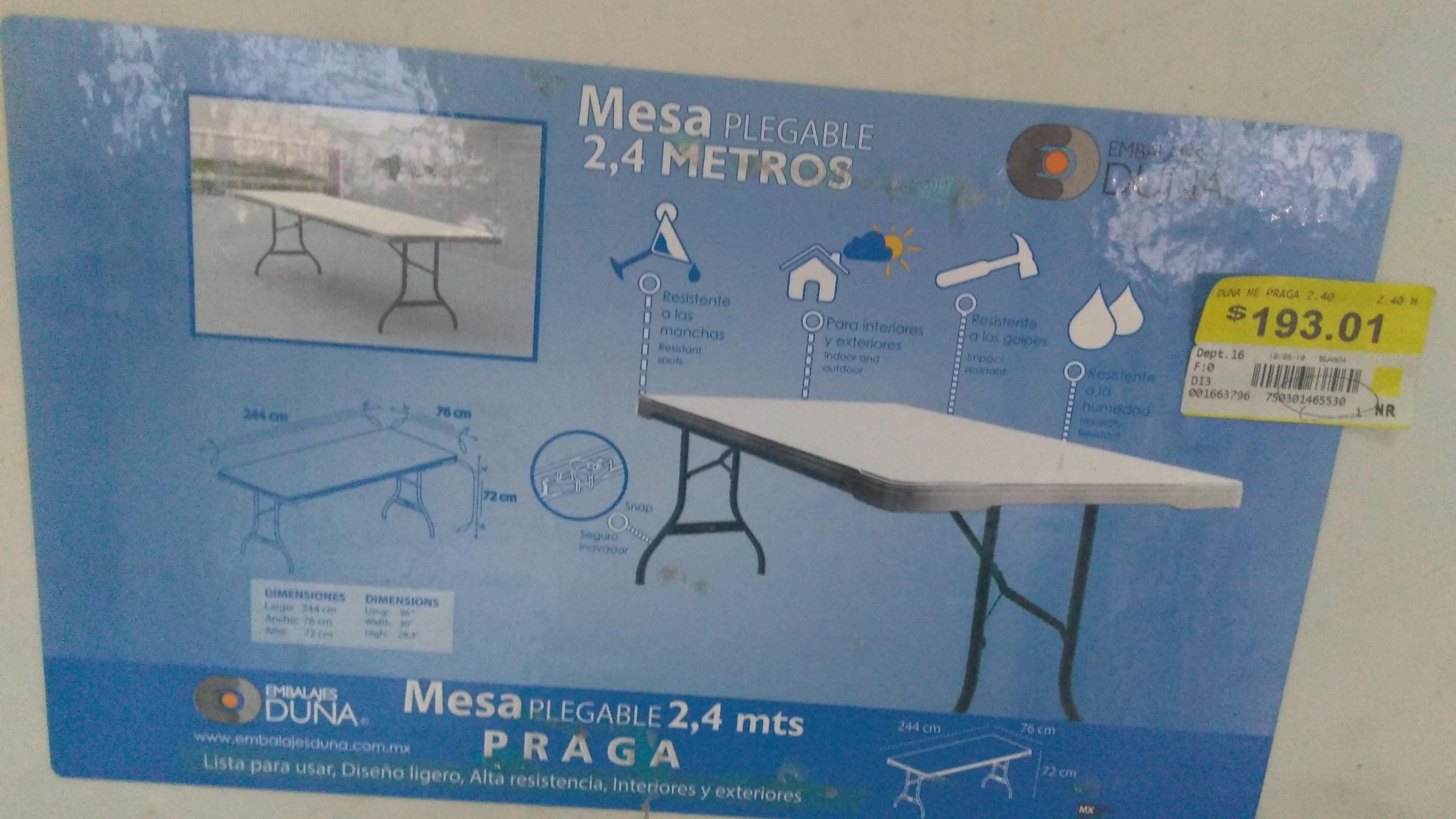 Bodega Aurrera: mesa plegable de 2.44 mts. a $193.01