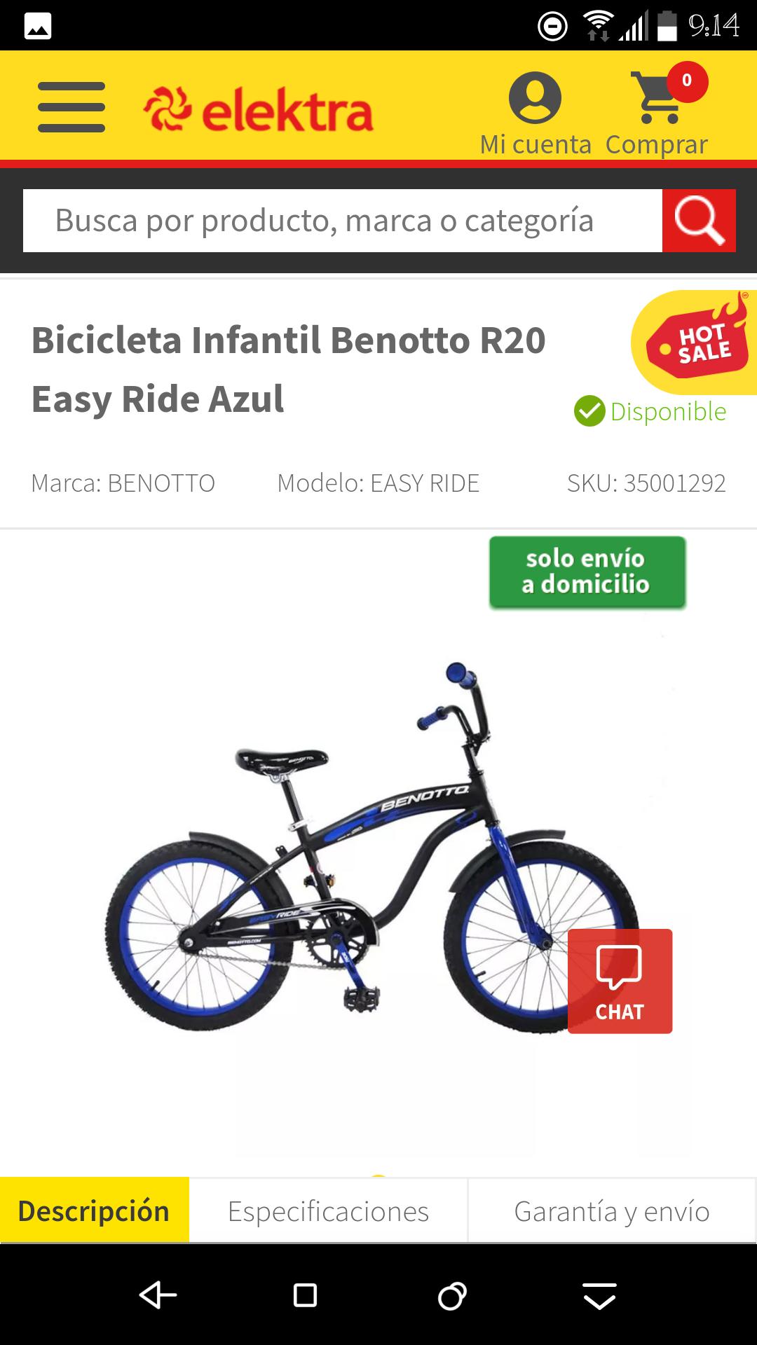 Elektra: Bicicleta R20 benotto azul easy ride (para niño)