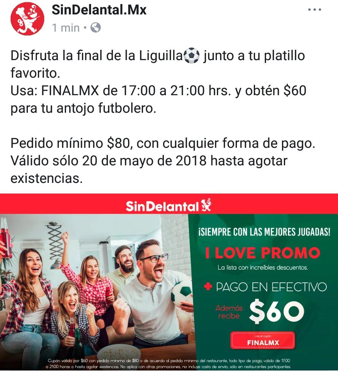 SinDelantal: Cupón $60 de descuento en pedido mínimo de $80 de 5 a 9pm