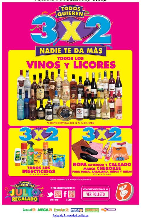 Ofertas de Julio Regalado 2015 en La Comer: 3x2 en todos los vinos y licores