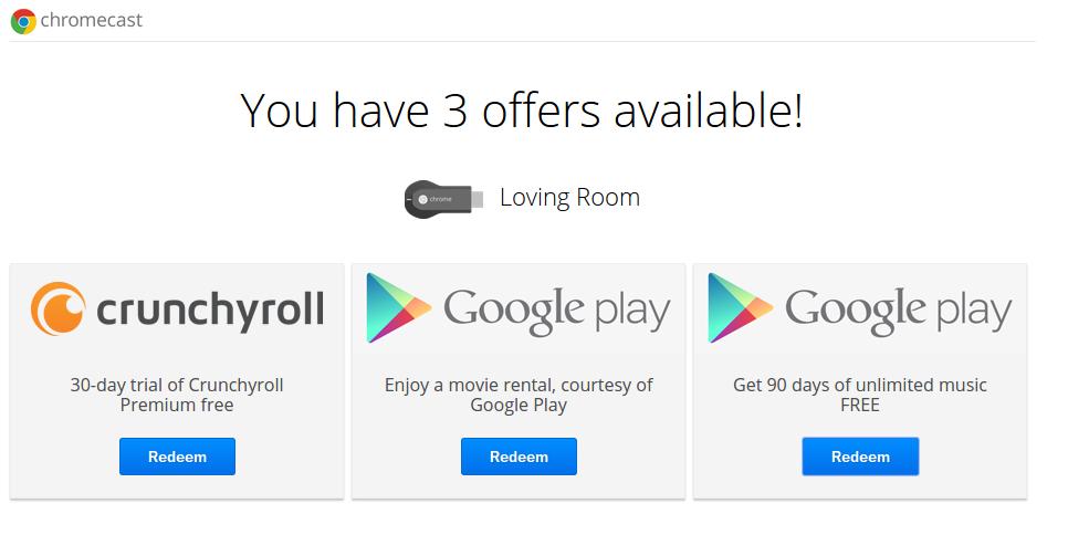 Película en renta, 3 meses de Google Play Music y 1 mes de Crunchroll gratis si tienes Chromecast