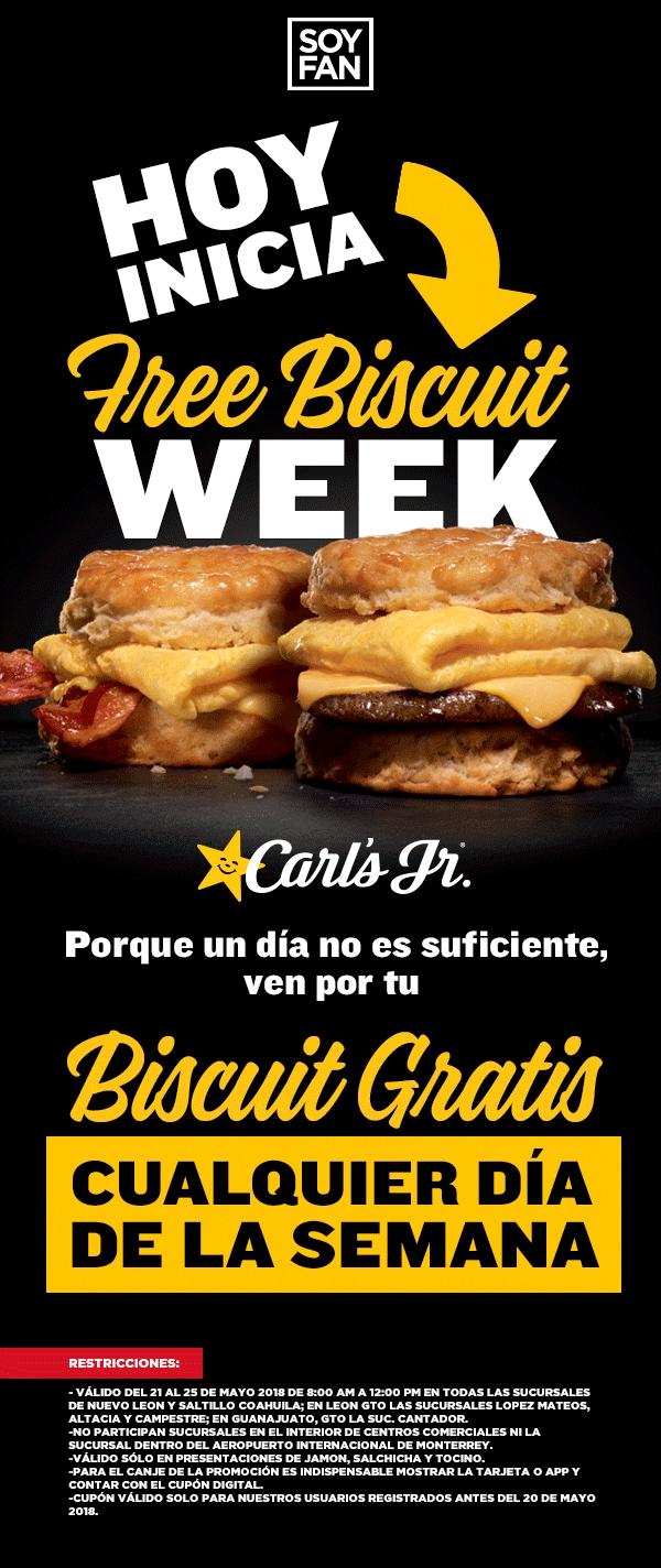 Carl's Jr: Biscuit Gratis del 21 al 25 de Mayo con tarjeta Soy Fan (Nuevo Leon, Coahuila y Guanajuato)