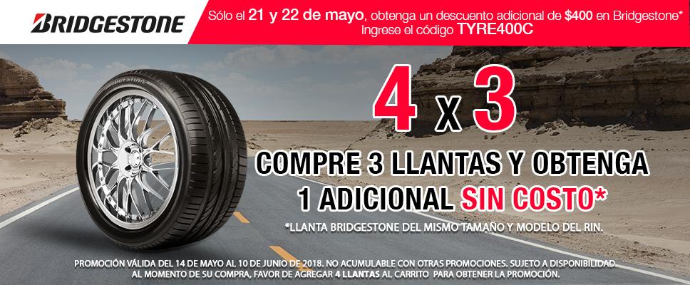 Costco: Llantas Bridgestone 4x3 + descuento de $400