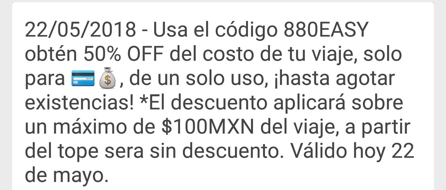Easy Taxy: 50 % de desc. Sobre un tope de 100 pesos, en efectivo y tarjeta, 22 de Mayo