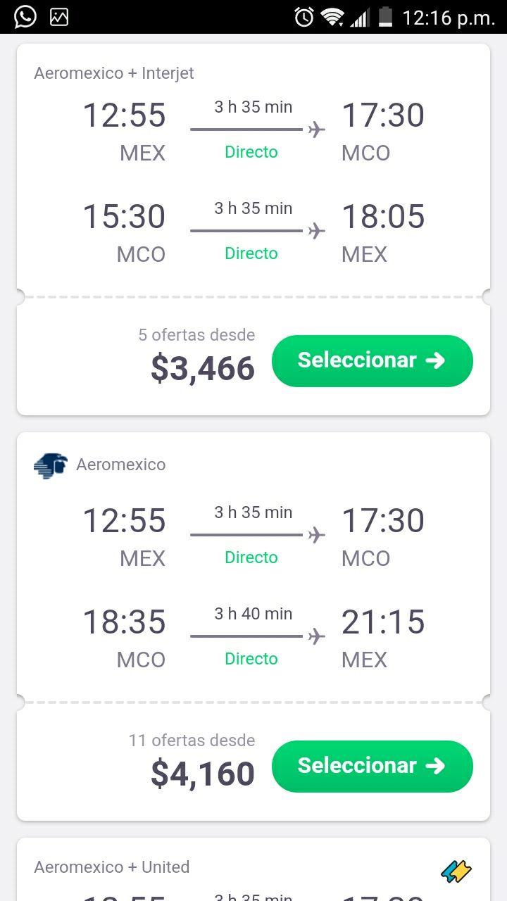 Aeroméxico+Interjet: CDMX - Orlando,Florida. Redondo.