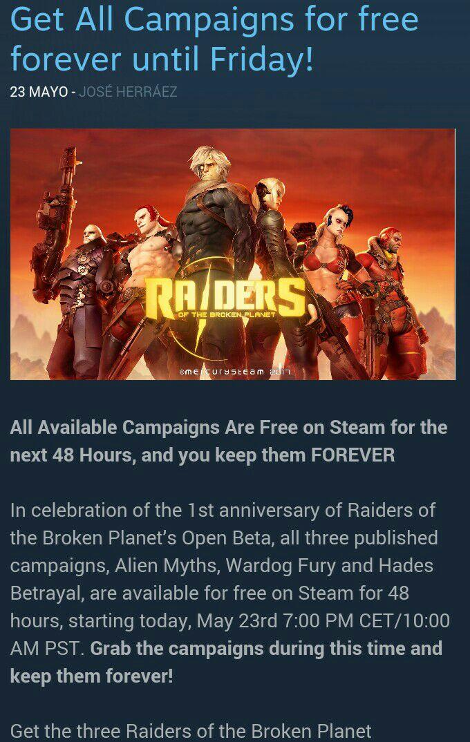 Steam: Expansiones Gratuitas de Raiders of the broken planet