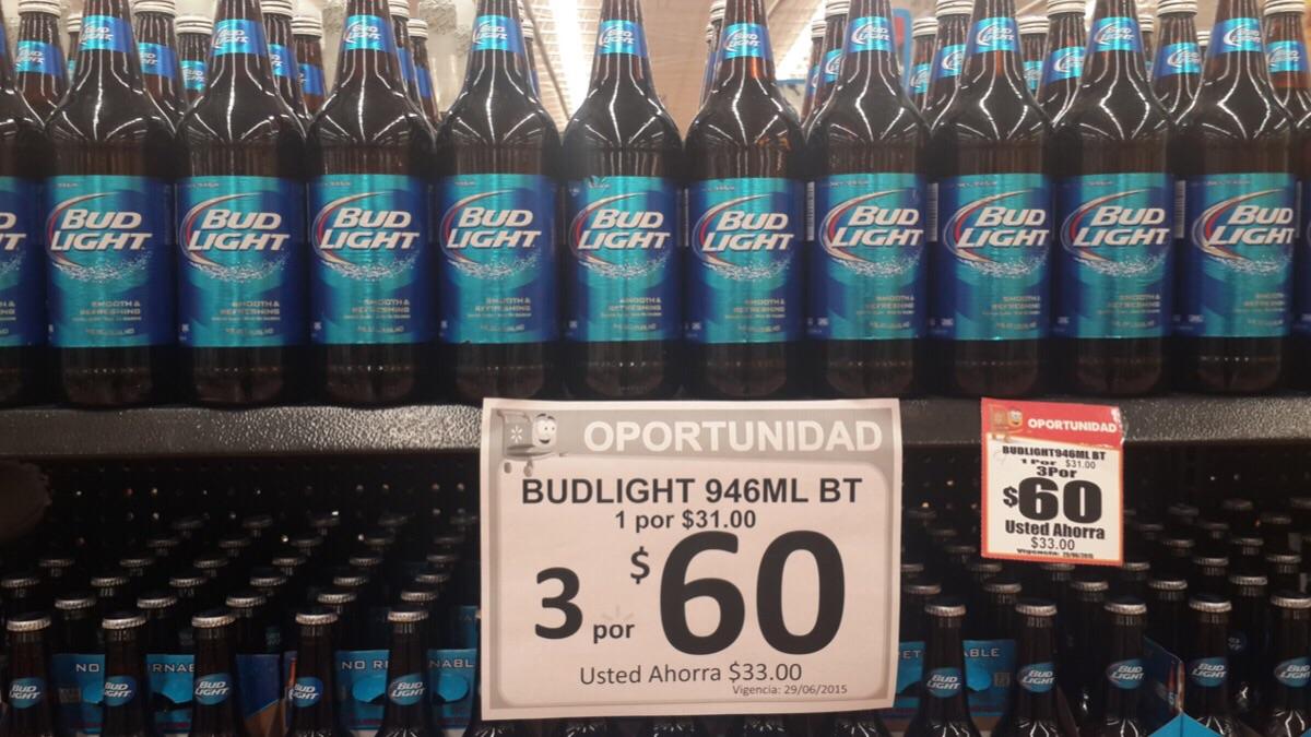 Walmart: 3 caguamas de la Bud Light a $60