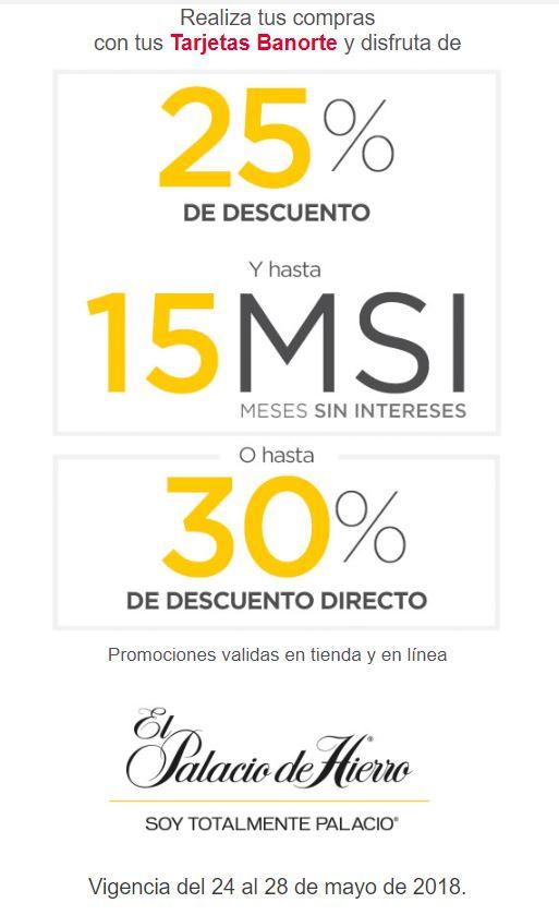 Palacio de Hierro: 25 % y 15 MSI o hasta 30 % de descuento directo con Banorte