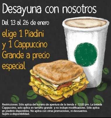 Starbucks: Capuccino y piadini a precio especial por la mañana